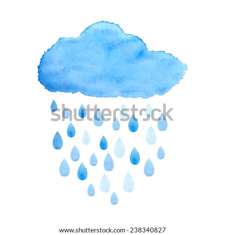 Rain (nimbus) cloud precipitation with rain drops. Watercolor illustration in vector.