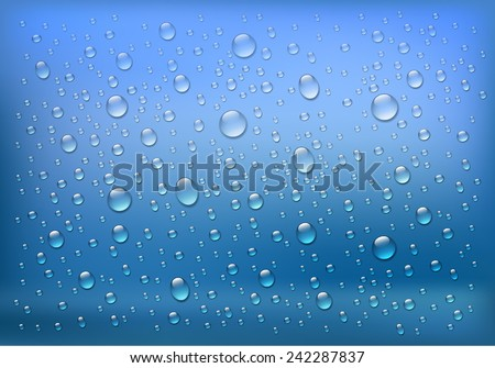 Rain on glass. Water drops isolated on blue background. Vector art illustration.
