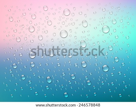 Rain on glass. Water drops isolated on colorful background. Vector art illustration.  Sun light, rays of sunshine. Simple website template. Soft blur color - stock vector