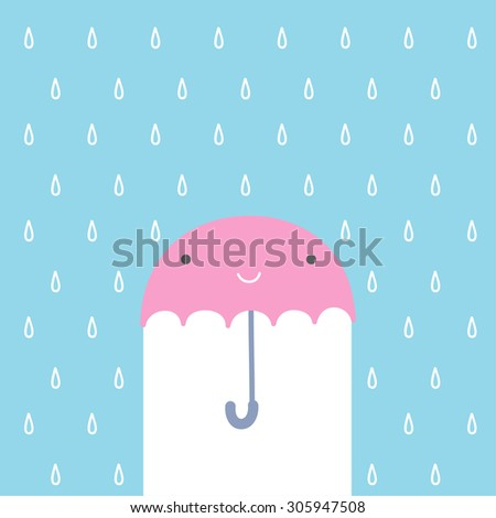 rain umbrella smile, illustrate vector