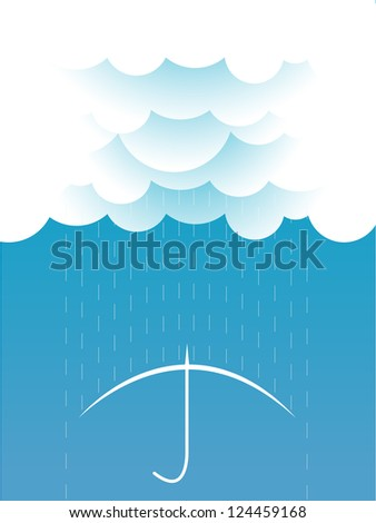Rain.Vector image with clouds in wet day - stock vector