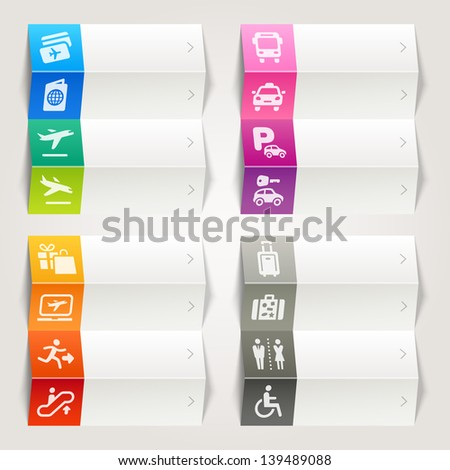Rainbow - Airport and Travel icons / Navigation template - stock vector