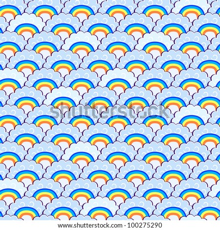 Rainbow and Blue Clouds Seamless Pattern. Vector Doodle Illustration - stock vector
