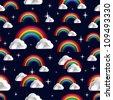 Rainbow and clouds cartoon seamless pattern. Vector illustration layered for easy manipulation and custom coloring. - stock vector