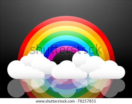 Rainbow and clouds illuminated and reflected. Easy to edit and change. - stock vector