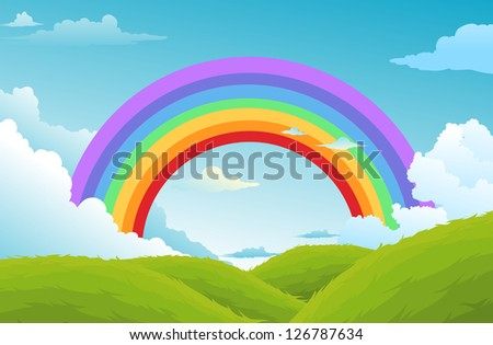 rainbow and clouds in the sky .vector