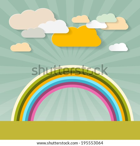 Rainbow and Clouds on Retro Background