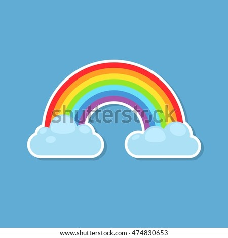 Rainbow and clouds sticker isolated on blue background nature sign cloud rainbow spectrum weather