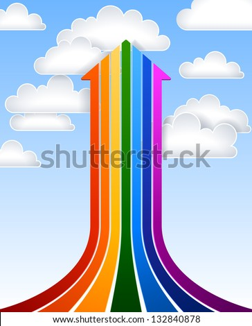 Rainbow arrow, EPS 10, file contains transparency. - stock vector