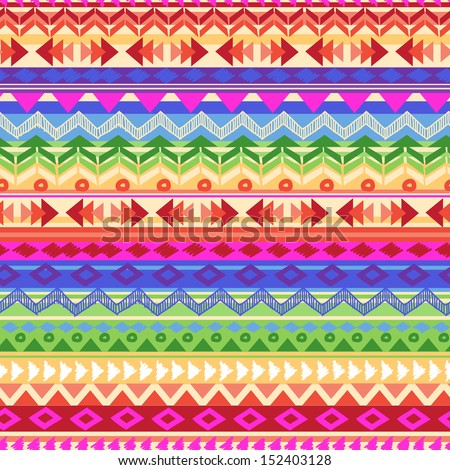 rainbow Aztec stripe ~ seamless background - stock vector