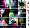 Rainbow Backgrounds Collection - 9 Flyer or brochures with colorful abstract motive - Set 1 Black Version - stock vector