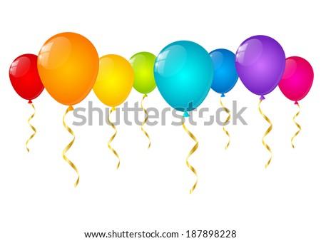 Rainbow balloons isolated on white - stock vector