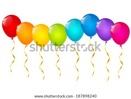 Rainbow balloons isolated on white - stock vector