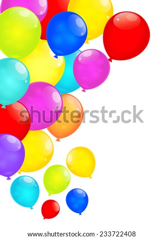 Rainbow balloons isolated on white background. Vector EPS10. - stock vector