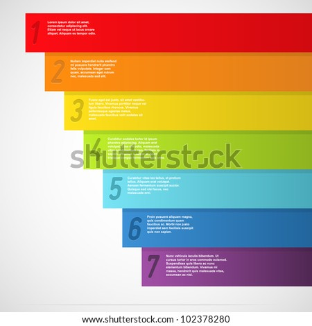 Rainbow banners with numbers. Vector illustration. - stock vector