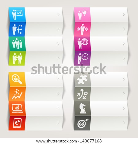 Rainbow - Business strategy and management icons / Navigation template - stock vector