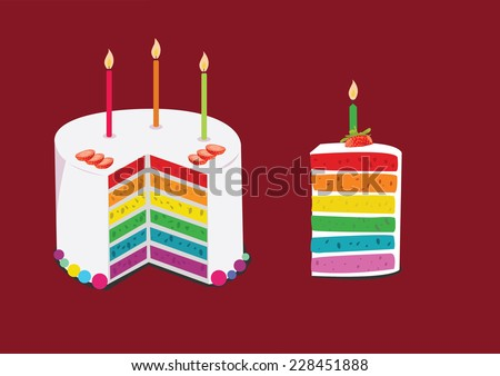 rainbow cake decorated with birthday candles. concept vector illustration - stock vector