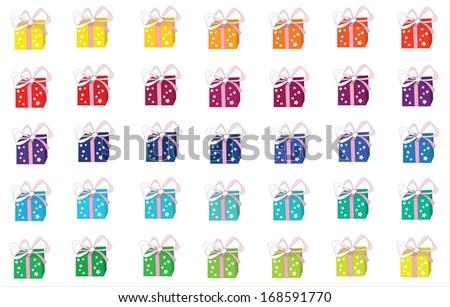 Rainbow Christmas Gifts - stock vector