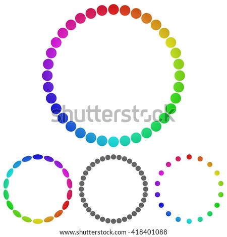 Rainbow circle logo vector. Circle icon symbol design template set for ring, wheel concepts. - stock vector