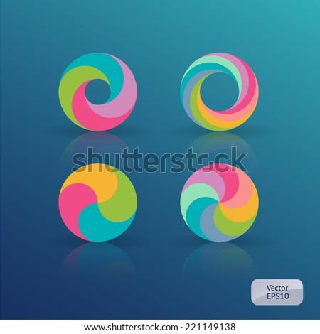rainbow circles set - stock vector