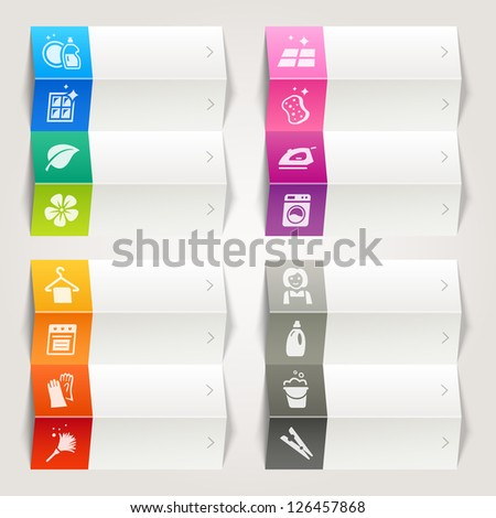 Rainbow - Cleaning and Household icons / Navigation template - stock vector