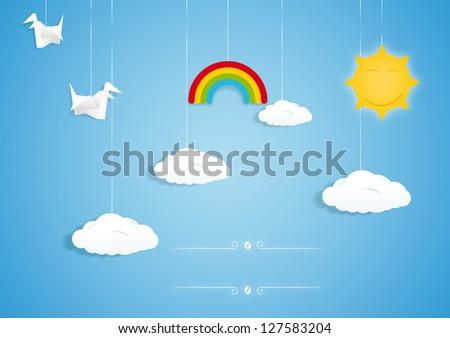Rainbow, clouds, birds and sun toys. Vector illustration - stock vector