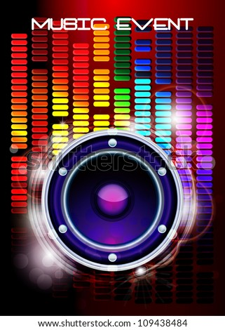 Rainbow Color Disco Music / Music event background / Poster Background for music - stock vector