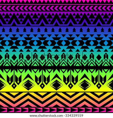 Rainbow Color Tribal Navajo Seamless Pattern. Aztec Grunge Abstract  Geometric Art Print. Ethnic Hipster