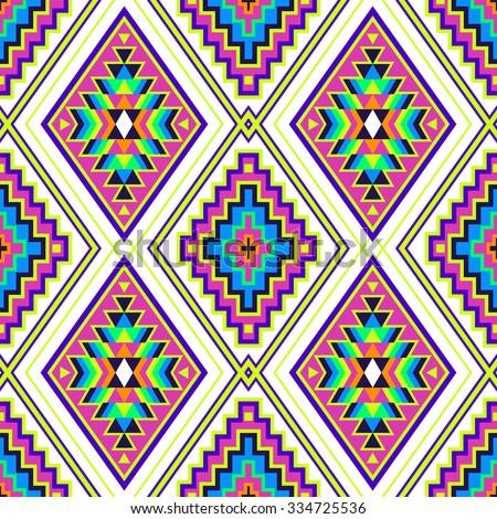 Rainbow Color Tribal Navajo Seamless Pattern Stock Vector