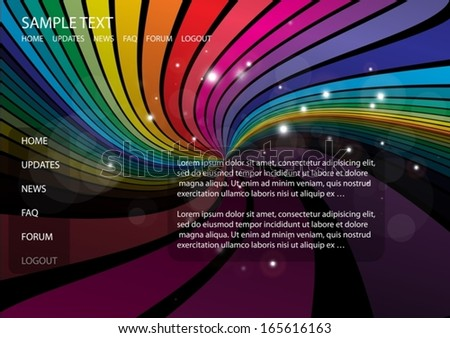 Rainbow color vector web template background  - Vector web color striped web design template
