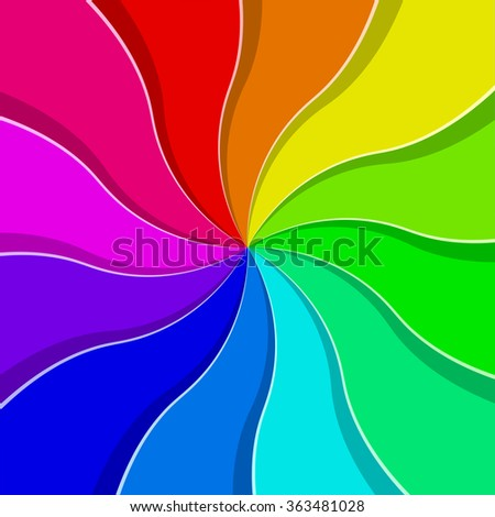 Rainbow colored abstract fan vector background. - stock vector