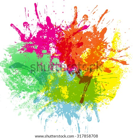 Rainbow colored blot isolated on white background, vector illustration - stock vector