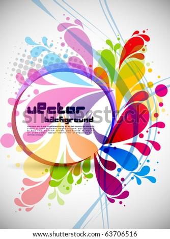 rainbow colored swirly background with splash - stock vector