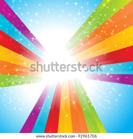 Rainbow colorful advertisement. Clip-art
