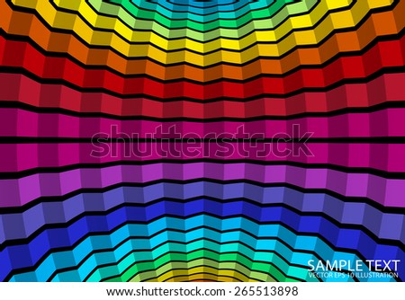 Rainbow colorful squared vector background illustration - Vector color striped and squared abstract background template - stock vector