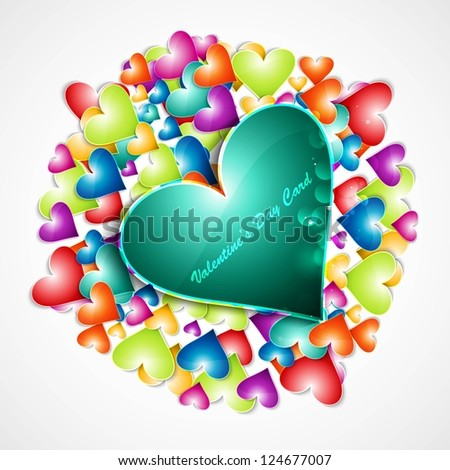 Rainbow colorful valentines day hearts love card vector illustration