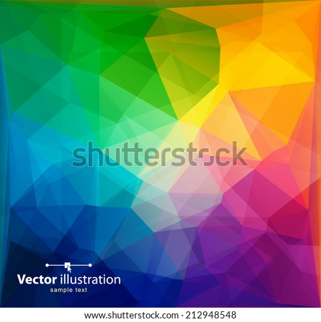 Rainbow colors triangular vector pattern. - stock vector