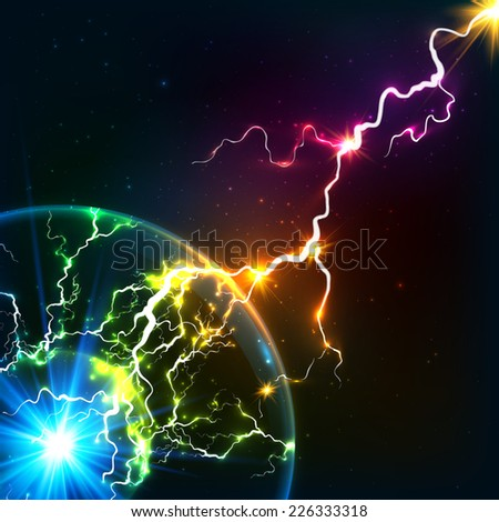 Rainbow colors vector cosmic plasma ball with lightning - stock vector