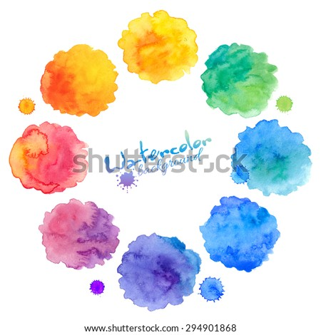 Rainbow colors vector watercolor splashes set - stock vector