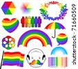 rainbow colour icon collection - stock vector