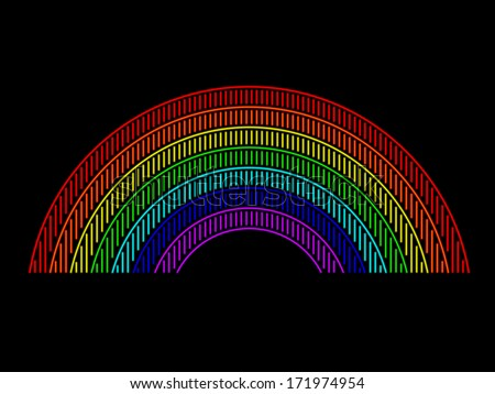 Rainbow composed of different colored neon tubes - stock vector