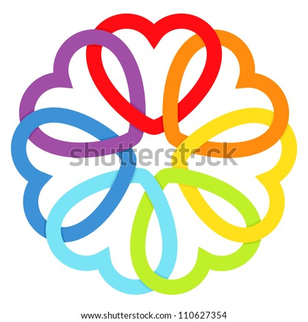 Rainbow connected hearts.Vector illustration. - stock vector