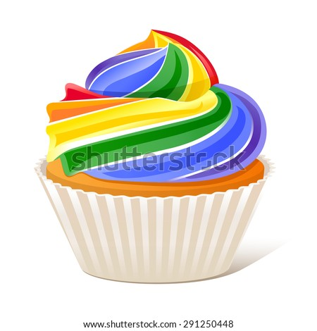 Rainbow Cupcake Love wins 10eps - stock vector
