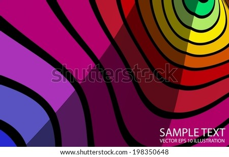 Rainbow curved lighted background abstract illustration - Vector colorful striped  background  template - stock vector