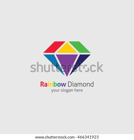 on shape heart diamond background isolated white rainbow photo render black