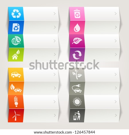 Rainbow - Ecological and Recycling icons / Navigation template - stock vector