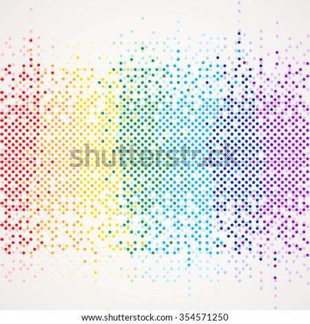 Rainbow equalizer background made from little stars with round angles. Vector illustration for your graphic design. - stock vector