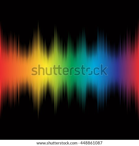 Rainbow equalizer on black background, digital modern colorful sound wave music pattern  vector design illustration used on musical sites, advertisements, banners, cards, web interfaces