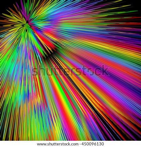 Rainbow explosion, abstract multicolored vector background in vivid spectrum colors, disco laser show decoration with wild colored rays, background for placard, bill, invitation,  - stock vector