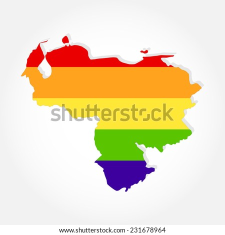 Rainbow flag in contour of Venezuela. Lgbt flag  in contour of Venezuela with light grey background - stock vector